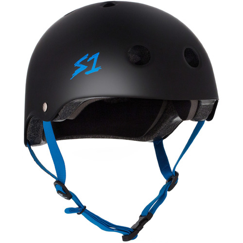 S-One Helmet Lifer (M) Black Matte/Cyan Straps - AUS/NZ Certified