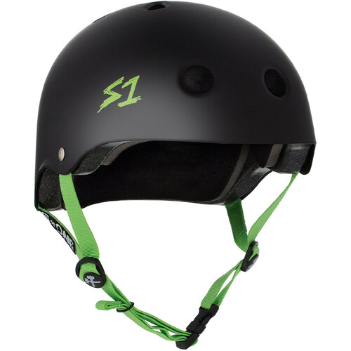 S-One Helmet Lifer (L) Black Matte/Green Straps - AUS/NZ Certified