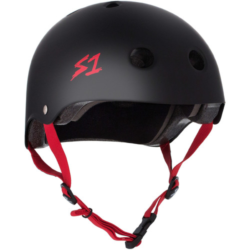 S-One Helmet Lifer (S) Black Matte/Red Straps - AUS/NZ Certified