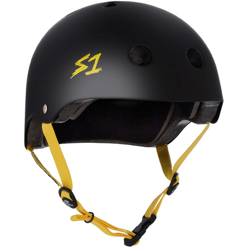 S-One Helmet Lifer (S) Black Matte/Yellow Straps - AUS/NZ Certified