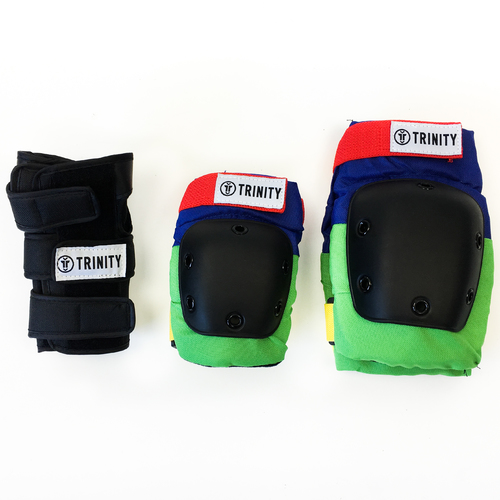 Trinity Pad Pack (XL) Colourful 2 x Knee Pads/Elbow Pads/Wrist Guards