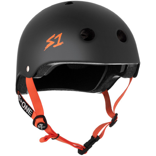 S-One Helmet Lifer (S) Black Matte/Orange Straps
