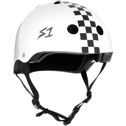 S-One Helmet Lifer (M) White Gloss/Black Checkers