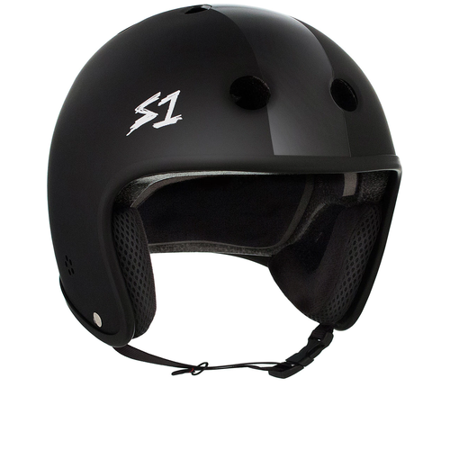 S-One Helmet Retro Lifer (L) Black Matte with Black Stripes