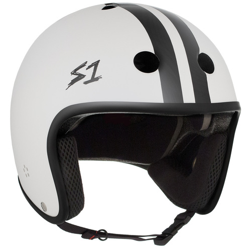 S-One Helmet Retro Lifer (M) White Gloss with Stripes