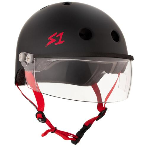 S-One Helmet Lifer Visor (L) Black Matte/Red Straps