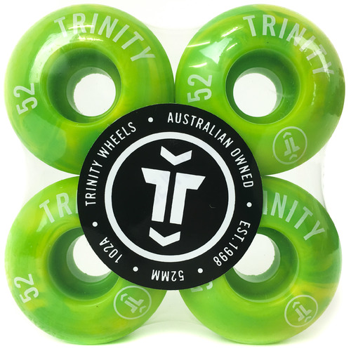 Trinity Wheels 52mm (100a) Yellow/Green Swirl