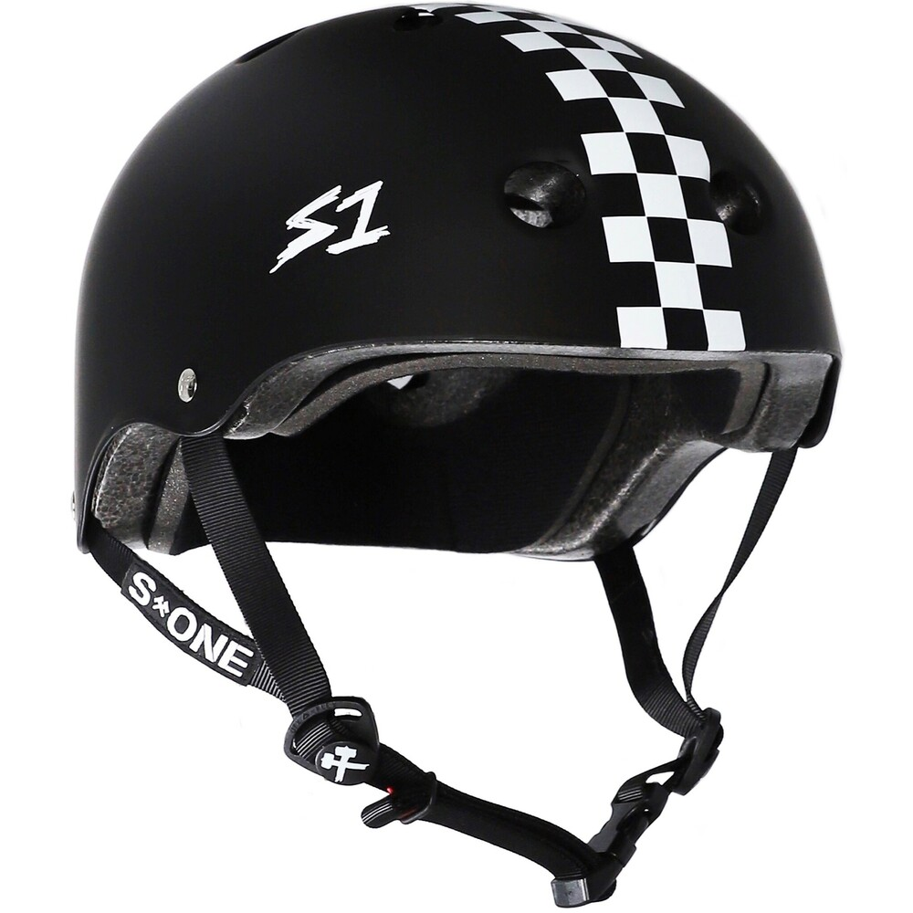 S-One Helmet Lifer (2XL) Black Matte/White Checkers